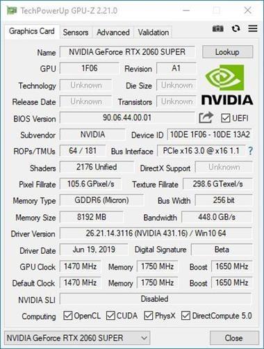 NVIDIA RTX 2060 SUPER Review - gpuz