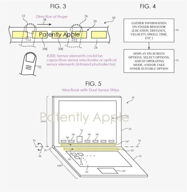 MacBook Touch Bar air gestures patent